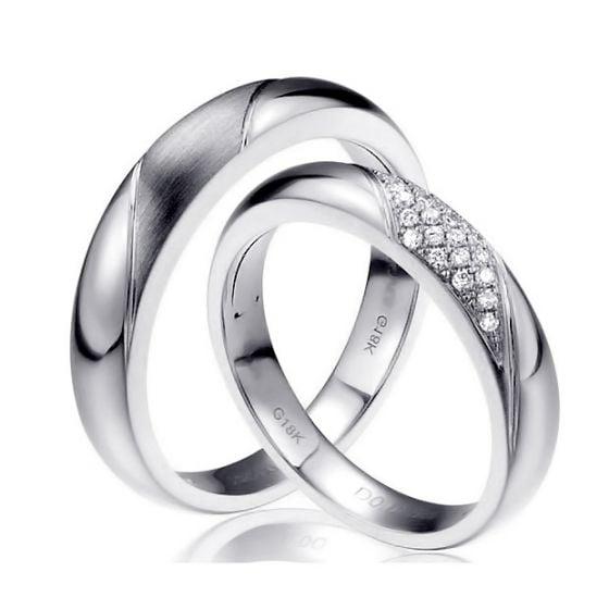 Alliances Duo - Or blanc - Diamants   Autour de moi