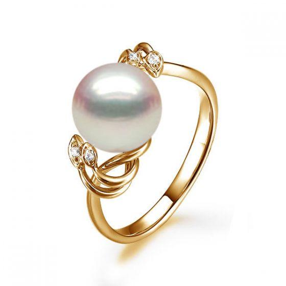 Bague fleur - Or jaune, Diamants - Perle de culture, Eau douce