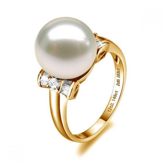 Bague noeud papillon - Perle blanche Chine - Or jaune, diamants
