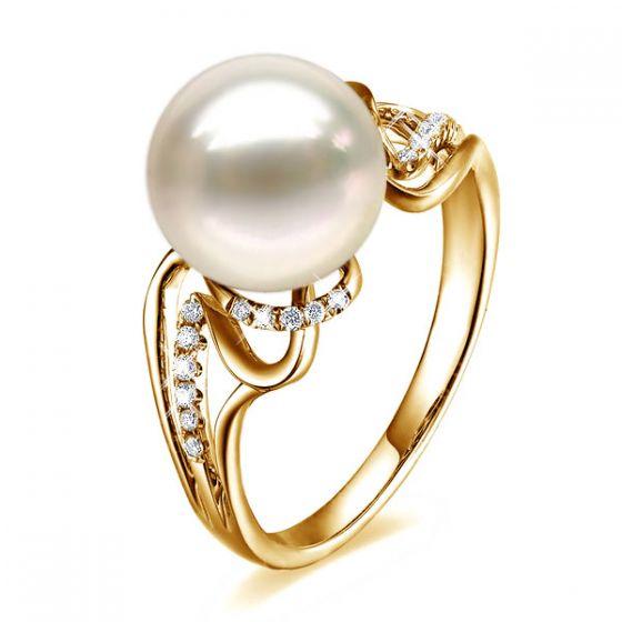 Bague moderne luxe perle de culture blanche - Or jaune, diamants