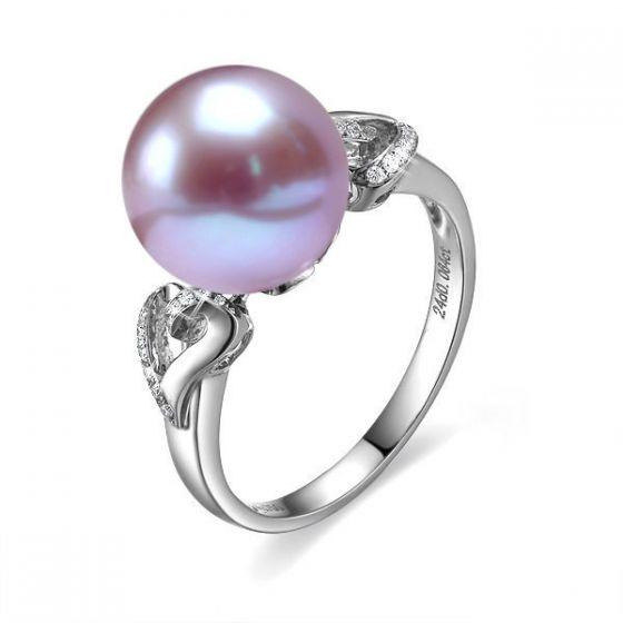 Bague coeur de perle diamanté - Or blanc et Perle d'eau douce lavande