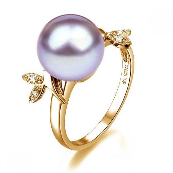 Bague Perle Lavande, Or Jaune Diamant. Feuilles Étincelantes