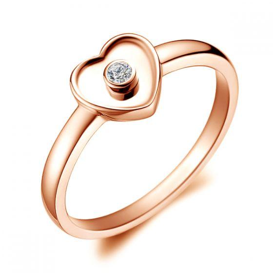 Bague Mon Coeur Pretty - Or Rose & Diamant Serti Clos | Gemperles