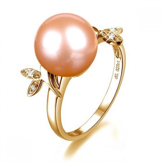Bague Perle Rose, Or Jaune Diamant. Feuilles Étincelantes