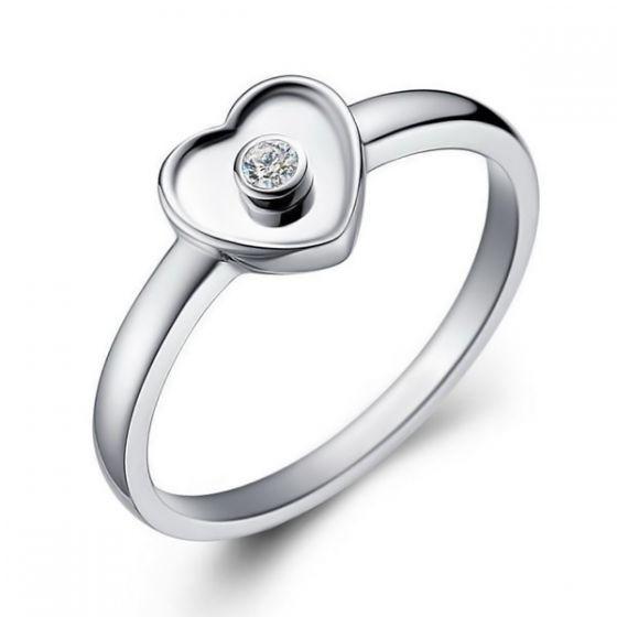 Bague Mon Coeur Pretty - Or Blanc & Diamant Serti Clos | Gemperles