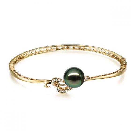 Bracelet jonc - Coeur stylisé - Perle de Tahiti - Or jaune, diamants
