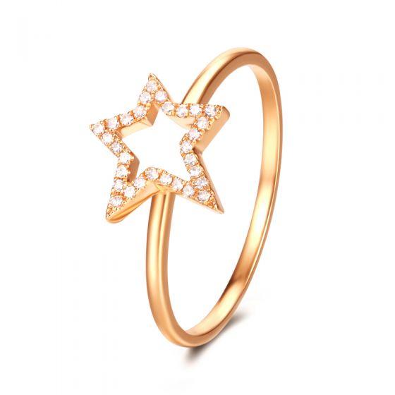 Bague Étoile Or jaune 18cts. 30 diamants 0.060ct