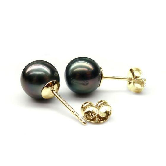 Boucles oreilles clous or jaune. Perles de Tahiti noires