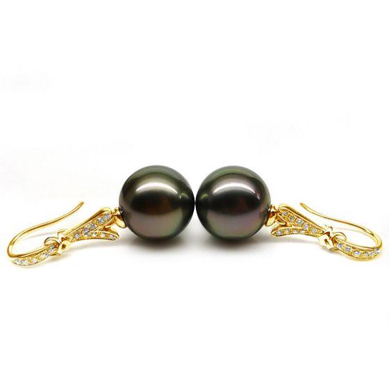 Boucles oreilles ruban avec perles de Tahiti - Or jaune, diamants