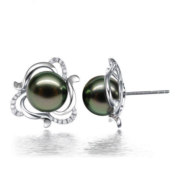 Boucles d'oreilles clous or blanc 18 carats - Perles de Tahiti vertes