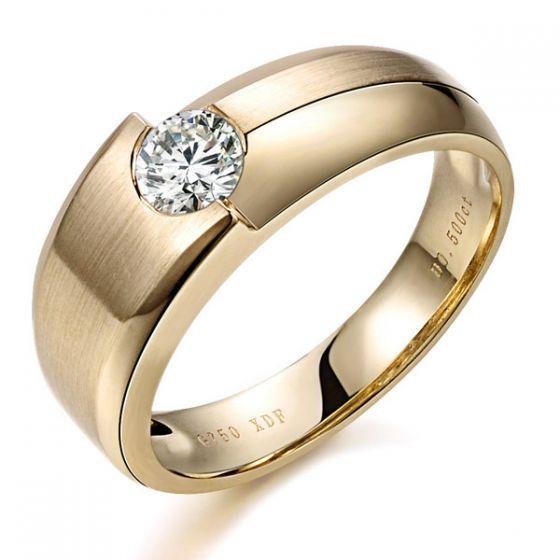 Bague homme Malcom - Duo d'or jaune serti d'un diamant de 0.50ct | Gemperles