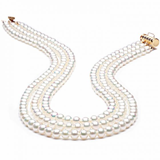 Collier perles 3 rangs mariage. Perle Blanche 5/5.5mm