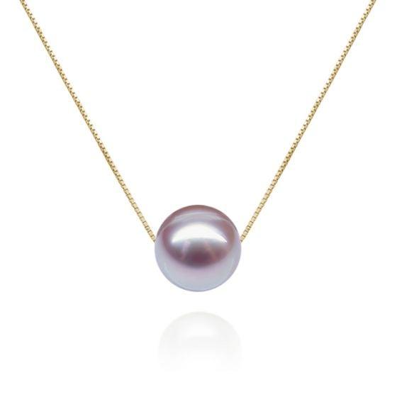 Collier pendentif perle lavande - Chaine or jaune
