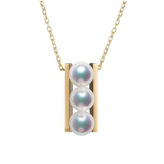 Pendentif 3 perles Akoya et or jaune. Disposition rail. Takana