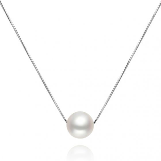 Collier pendentif perle blanche 9/10mm - Chaine or blanc