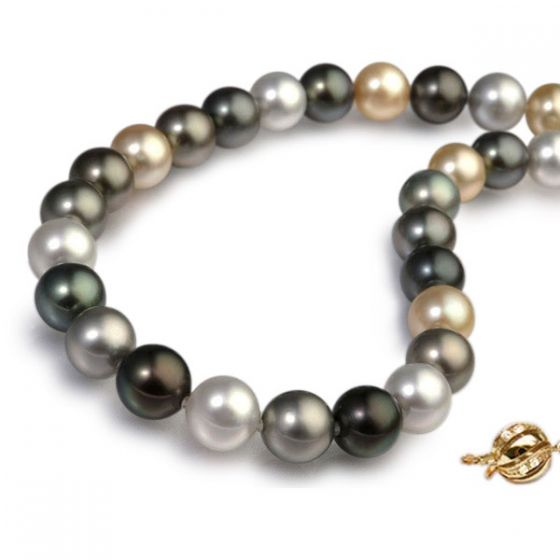 Collier perles des mers du sud multicolores - 10/13mm - AAA
