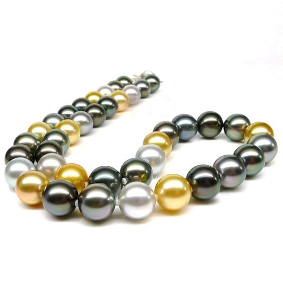 Collier perles multicolores des mers du sud - 9/10.5mm - AAA