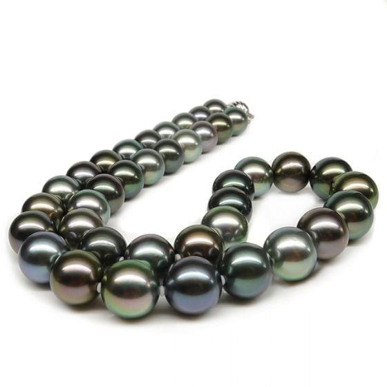 Collier perles Tahiti multicolores. Perles luxe Polynésie française