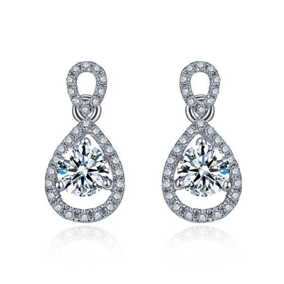 Boucles d'oreilles - Boucle diamant or blanc 18cts