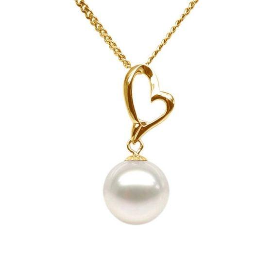 Pendentif cœur de Cupidon or jaune - Perle de culture
