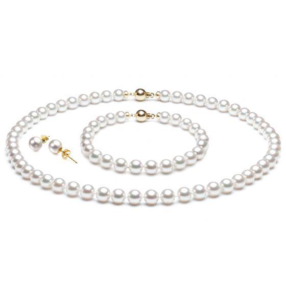 Bijoux en parure - Perles Akoya - Collier, bracelet, boucles oreille - 2