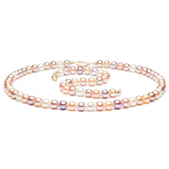 Bijoux - Parure - Collier et bracelet - Perles de culture multicolores
