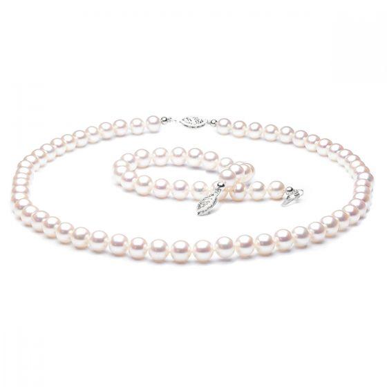 Parure perles eau douce blanches - Collier et bracelet - 6.5/7mm
