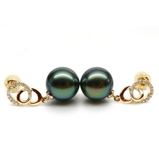 Boucles d'oreilles montures entournées - Perles Tahiti, or jaune