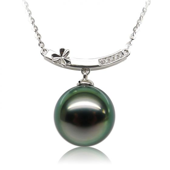 Pendentif or blanc fleur diamant - Perle de Tahiti verte