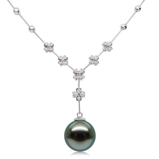 Collier pendentif or blanc, diamants et perle de Tahiti 13/14mm