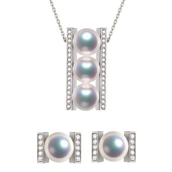 Pendentif et Boucles Otohiko. Perles Akoya, Or blanc, diamants