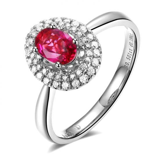 Bague de fiançailles rubis diamants et or blanc - Forme ovale