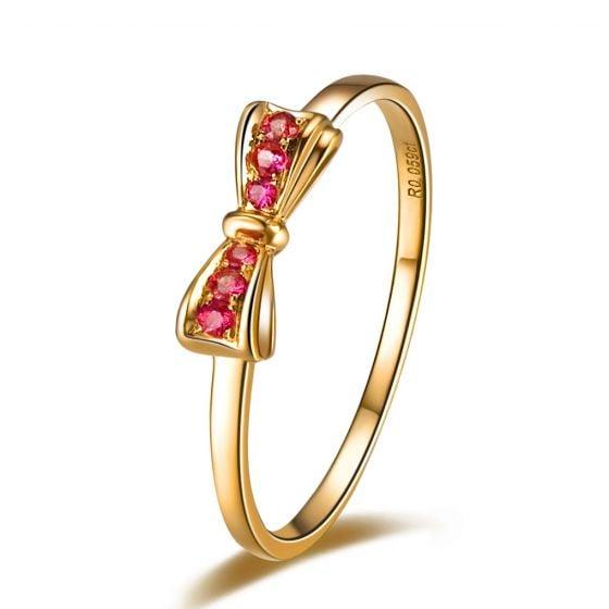 Bague noeud papillon - Or jaune, rubis