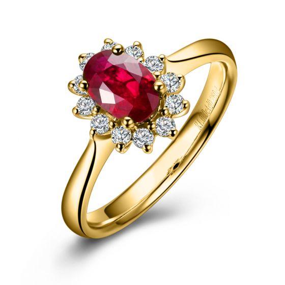 Bague rubis, diamants monture or jaune - Création florale classique