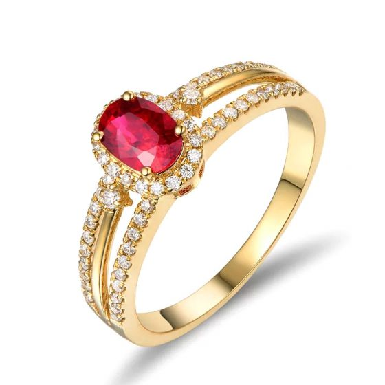 Bague fiançailles rubis or jaune. Diamants