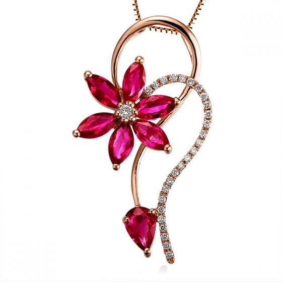 Pendentif Fleur en or rose -  Rubis et diamants sertis