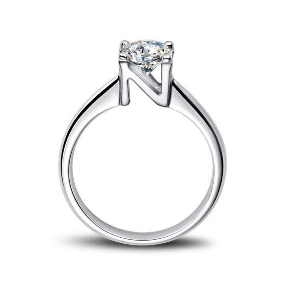Bague prénom - Lettre N - Diamant, or blanc   Gemperles