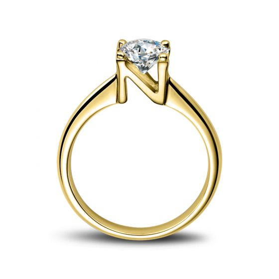 Bague prénom - Lettre N - Diamant, or jaune | Gemperles