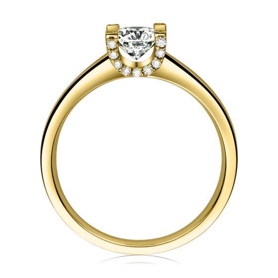 Bague lettre de l'alphabet - Initiale U ou C - Or jaune, diamants   Gemperles