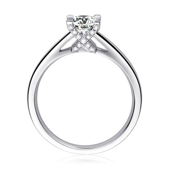 Bague alphabétique - Initiale X - Or blanc, diamants   Gemperles