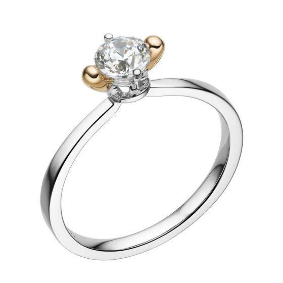 Bague solitaire 2 ors forme d'allumette, Diamant griffes