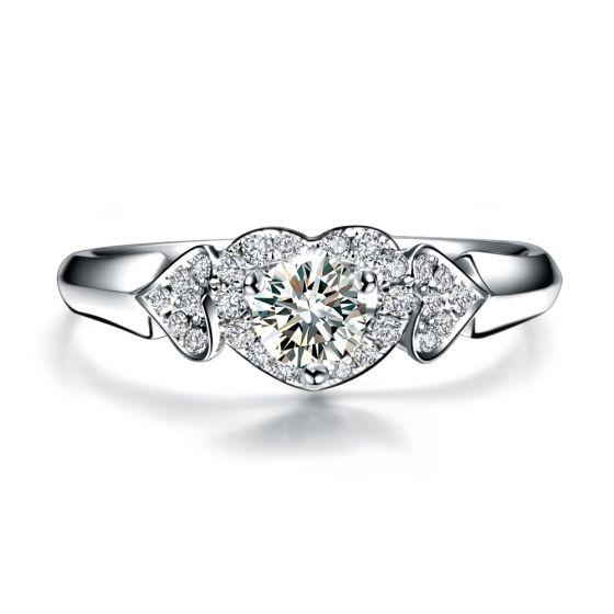 Bague Solitaire Coeurs Splendides - Or Blanc, Diamants | Gemperles