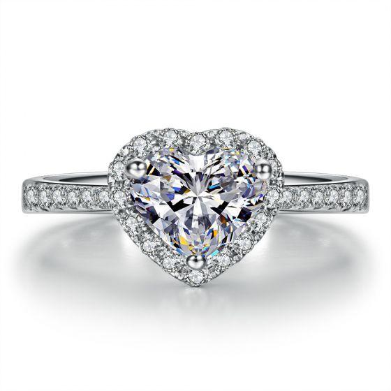 Bague Cœur Solitaire Love etc - Or Blanc 18 Carats - Diamants   Gemperles