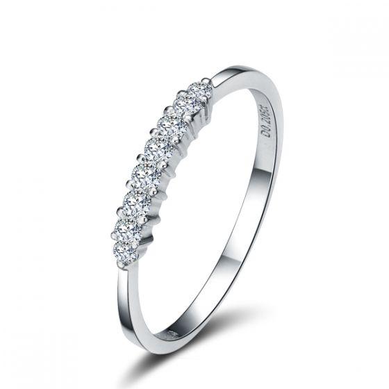 Bague fiançaille - Bague en or blanc 18 carats - Diamants 0.204ct