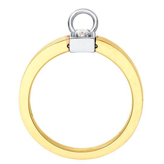 Solitaire pendentif - Bague de mariage en or blanc, jaune et diamants | Gemperles