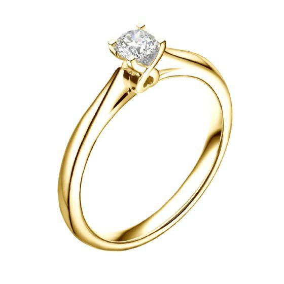 Solitaire or jaune diamant - Bague symbole du cœur et de l'amour
