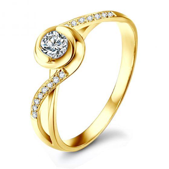 Bague Solitaire A Julie - Or Jaune & Diamants - Alfred de Musset   Gemperles