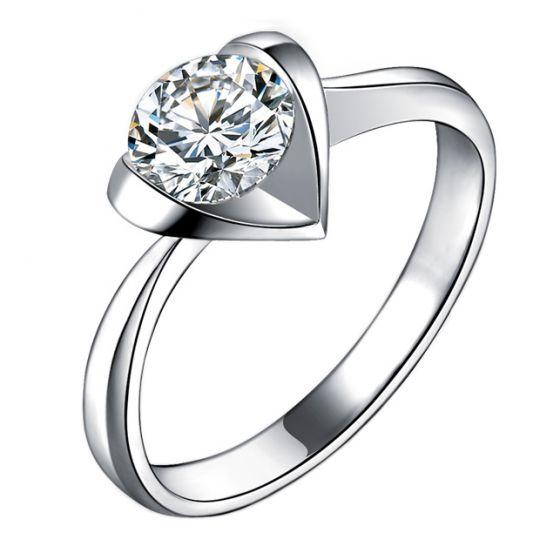 Bague Solitaire Coeur Majestueux - Or Blanc & Diamant   Gemperles