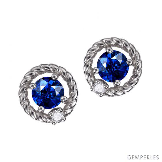 Orecchini a Lobo Tempietto - Oro Bianco con Zaffiri e Diamanti | Gemperles