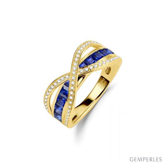 Bague sens de nos vies. Saphirs bleus, diamants et Or jaune